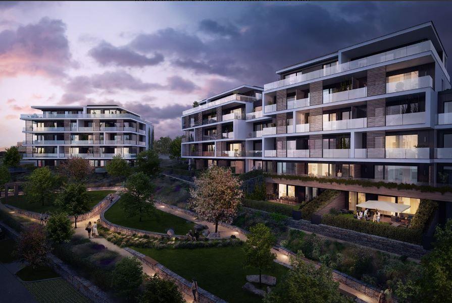 Nový pasivní byt 4+kk 96,6 m2 s balkonem 20,1m2 v projektu Císařská vinice, Praha 5