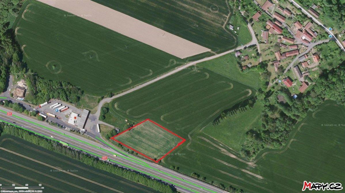 Nabídka komerčního pozemku 6077 m2 u výjezdu z D1, Soutice - Kalná