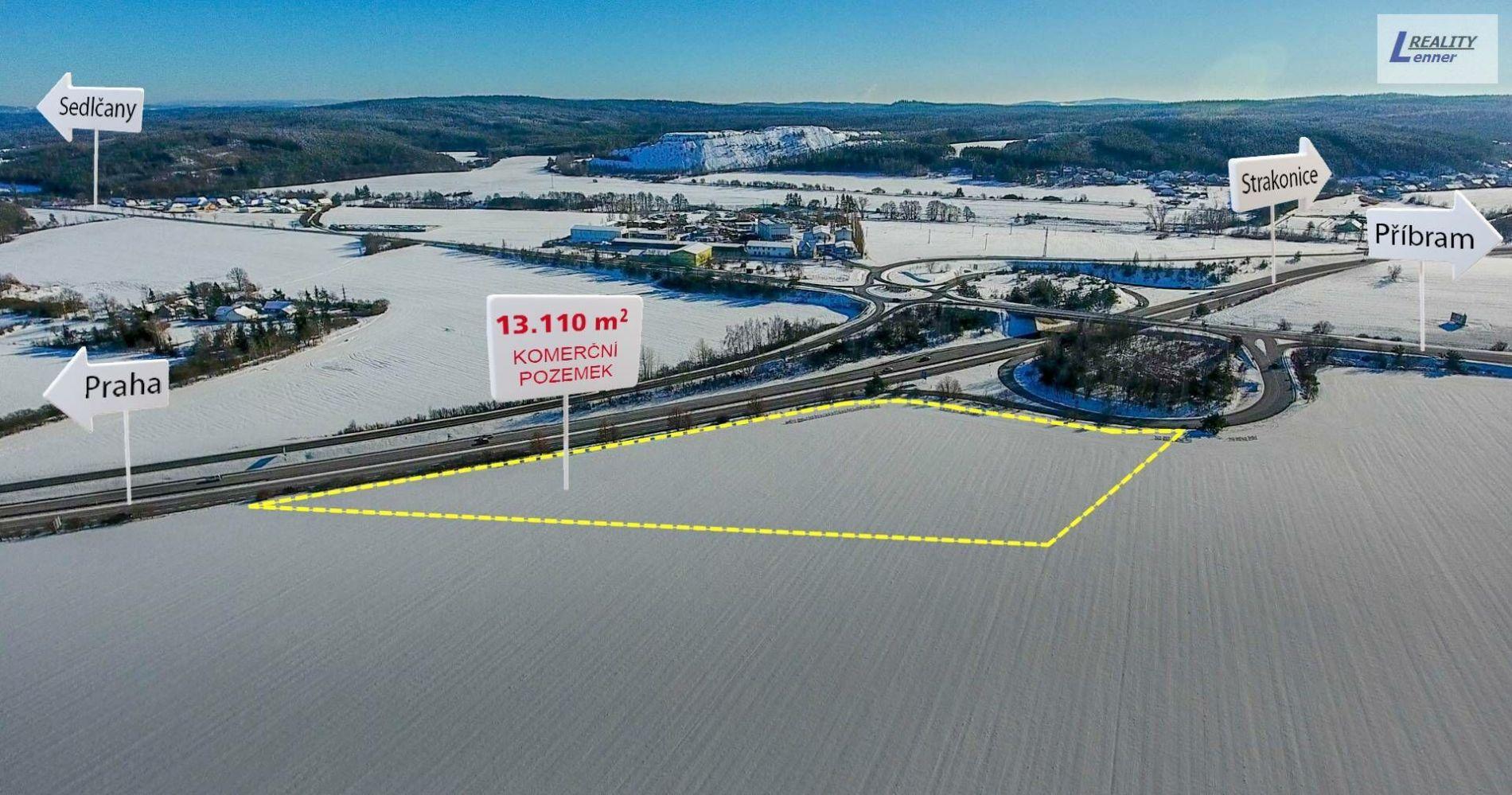 Stavební pozemek 13.110 m2, přímo u dálnice D4 u sjezdu na Příbram