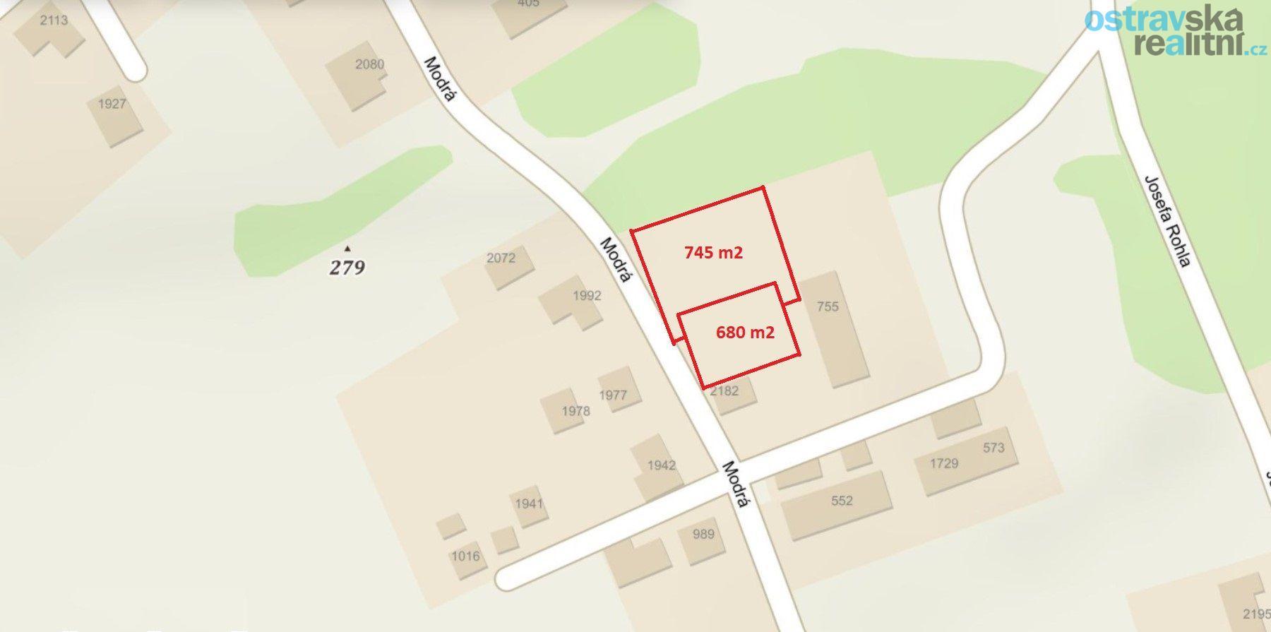 Prodej, stavební pozemek 1425 m2, Petřvald, ul. Modrá