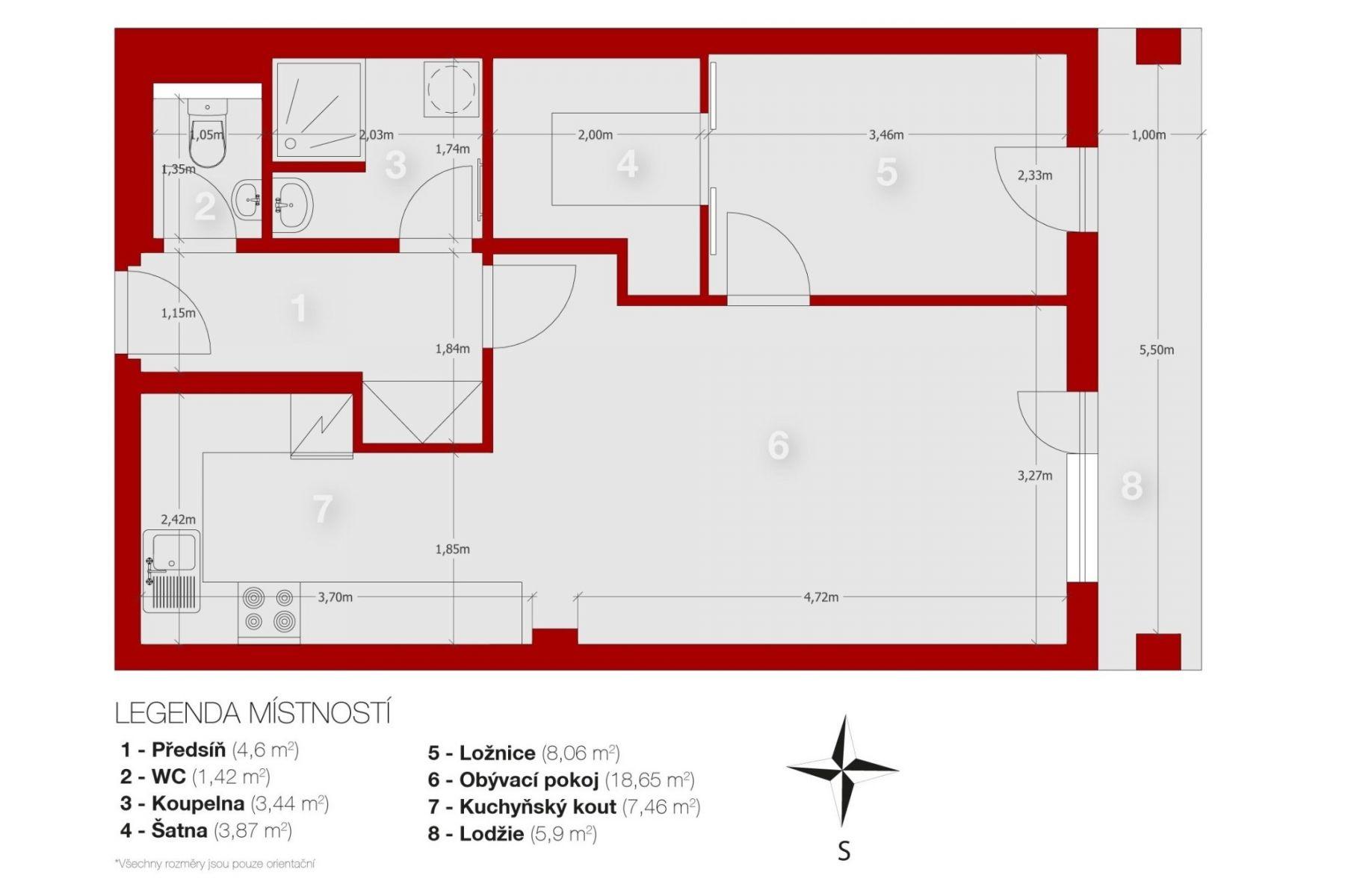 Prodej bytu OV 2+kk/L v novostavbě, Neveklov, okr. Benešov