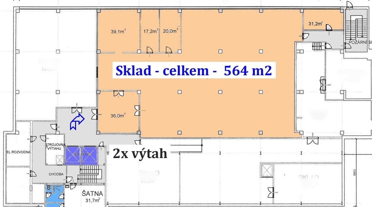 Sklad 564 m2, suterén, 2x nákl. výtah, Praha 9  Horní Počernice