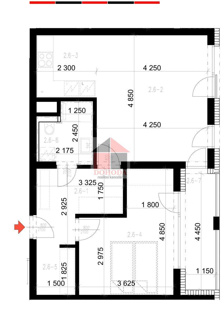 Prodej nového bytu 2+kk Zlín Sadová