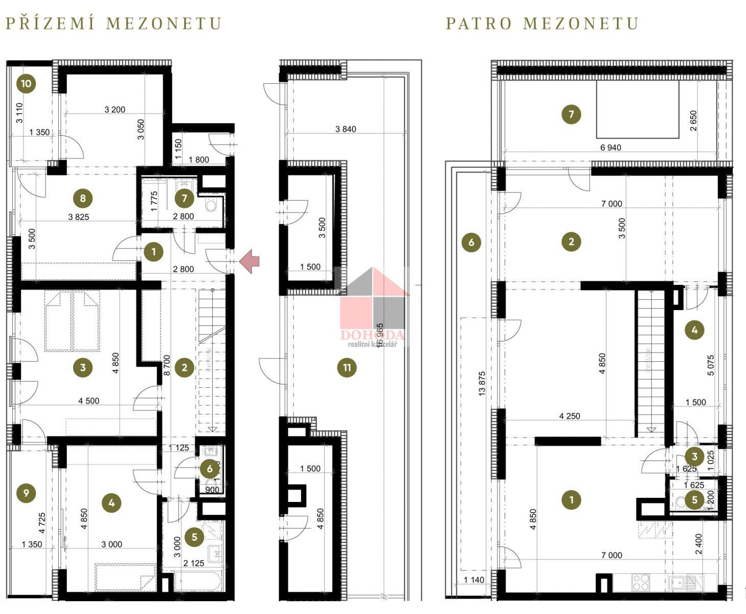 Prodej nového mezonetového bytu 4+kk Zlín Sadová