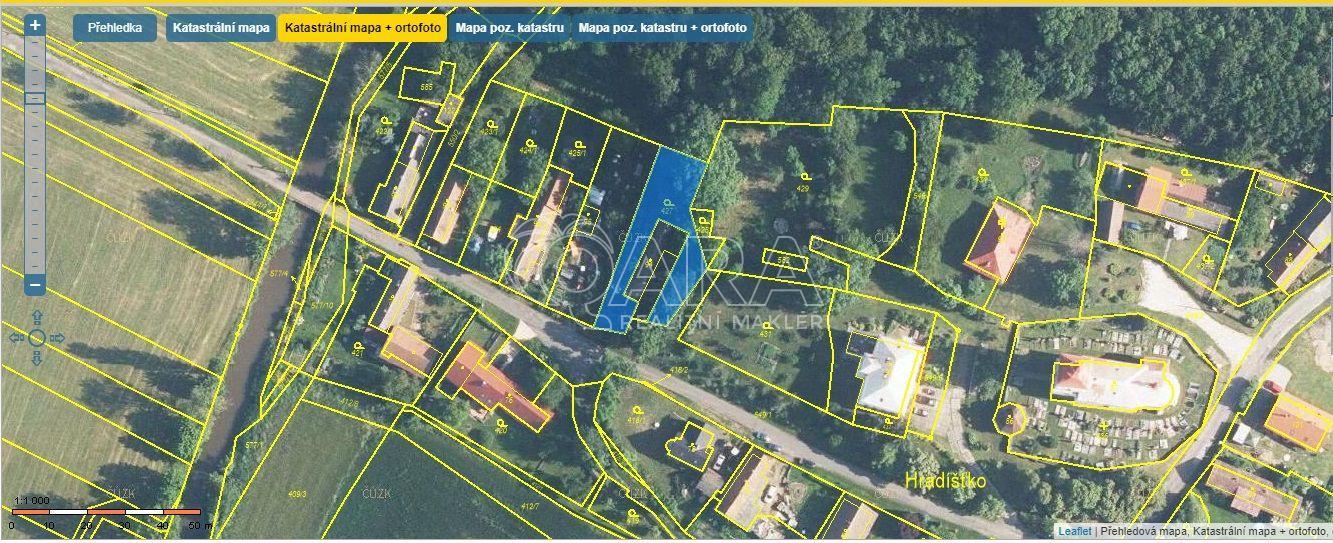 Prodej pozemků  o celkové výměře 845 m2 Hradišťko Žeretice