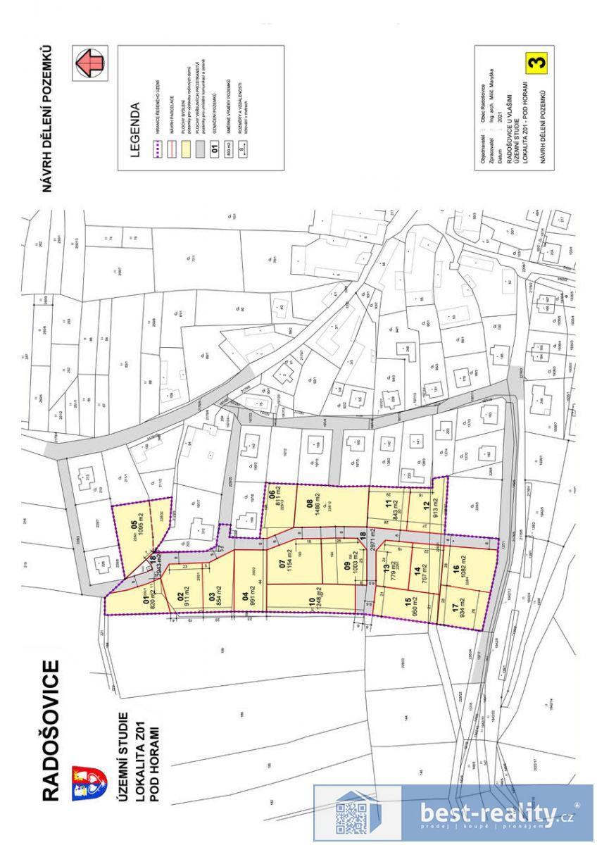 Prodej stavebního pozemku,1340m2, Radošovice, okres Benešov