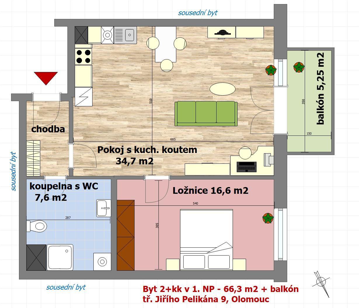 Pronájem nového byty 2+kk v Olomouci - tř. Jiřího Pelikána