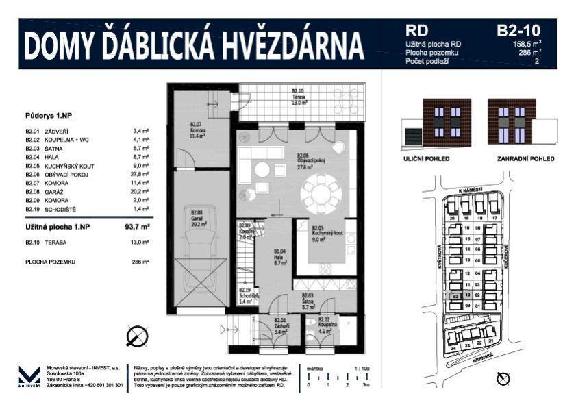 Prodej nového rodinného domu 159 m2 na pozemku 286 m2