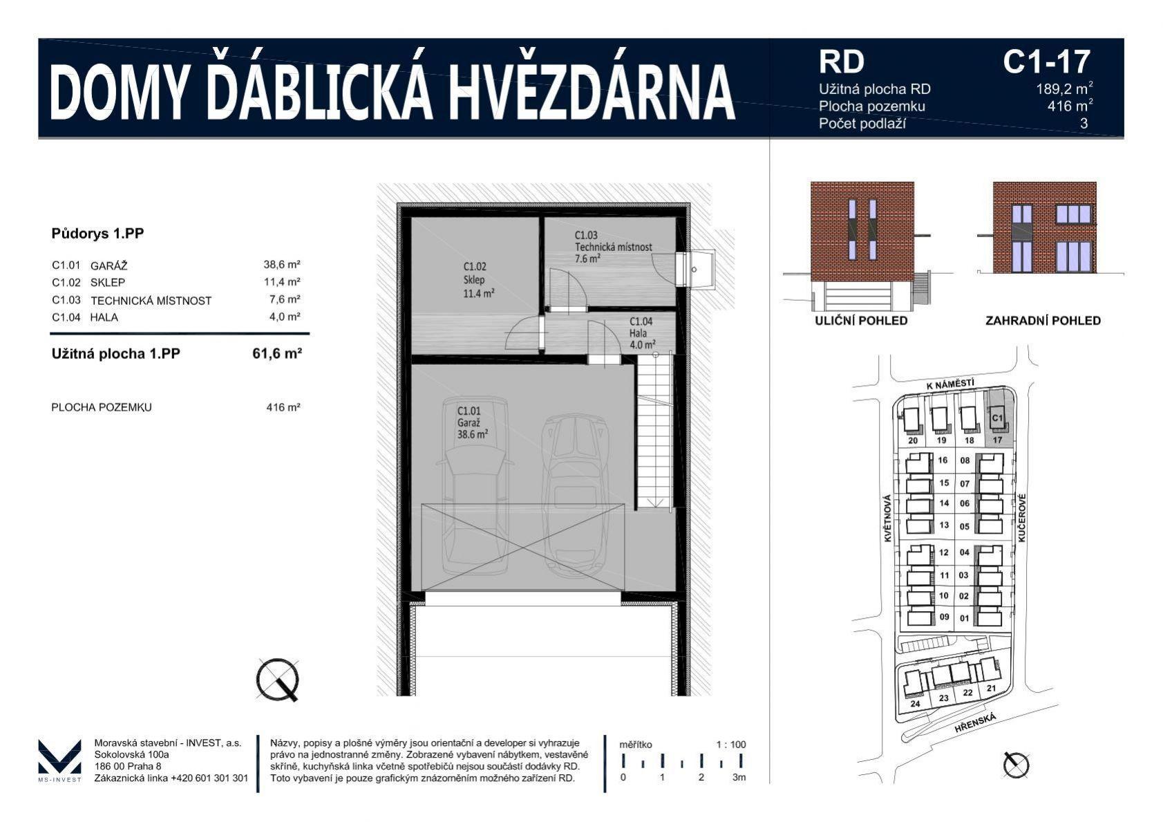 Prodej nového rodinného domu 189 m2 na pozemku 416 m2