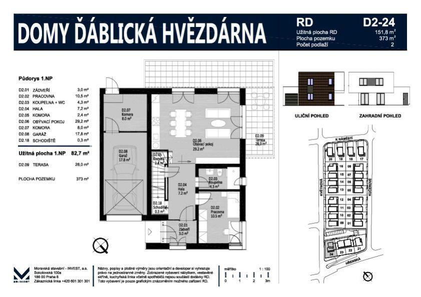 Prodej nového rodinného domu 152 m2 na pozemku 373 m2