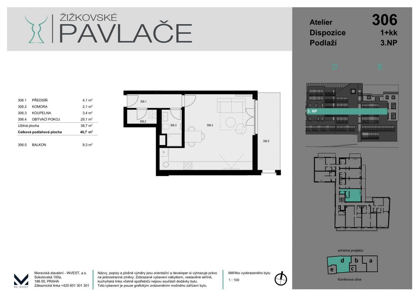 Novostavba ateliéru s balkonem, 41+9 m2 v rezidenci Žižkovské pavlače, Praha 3