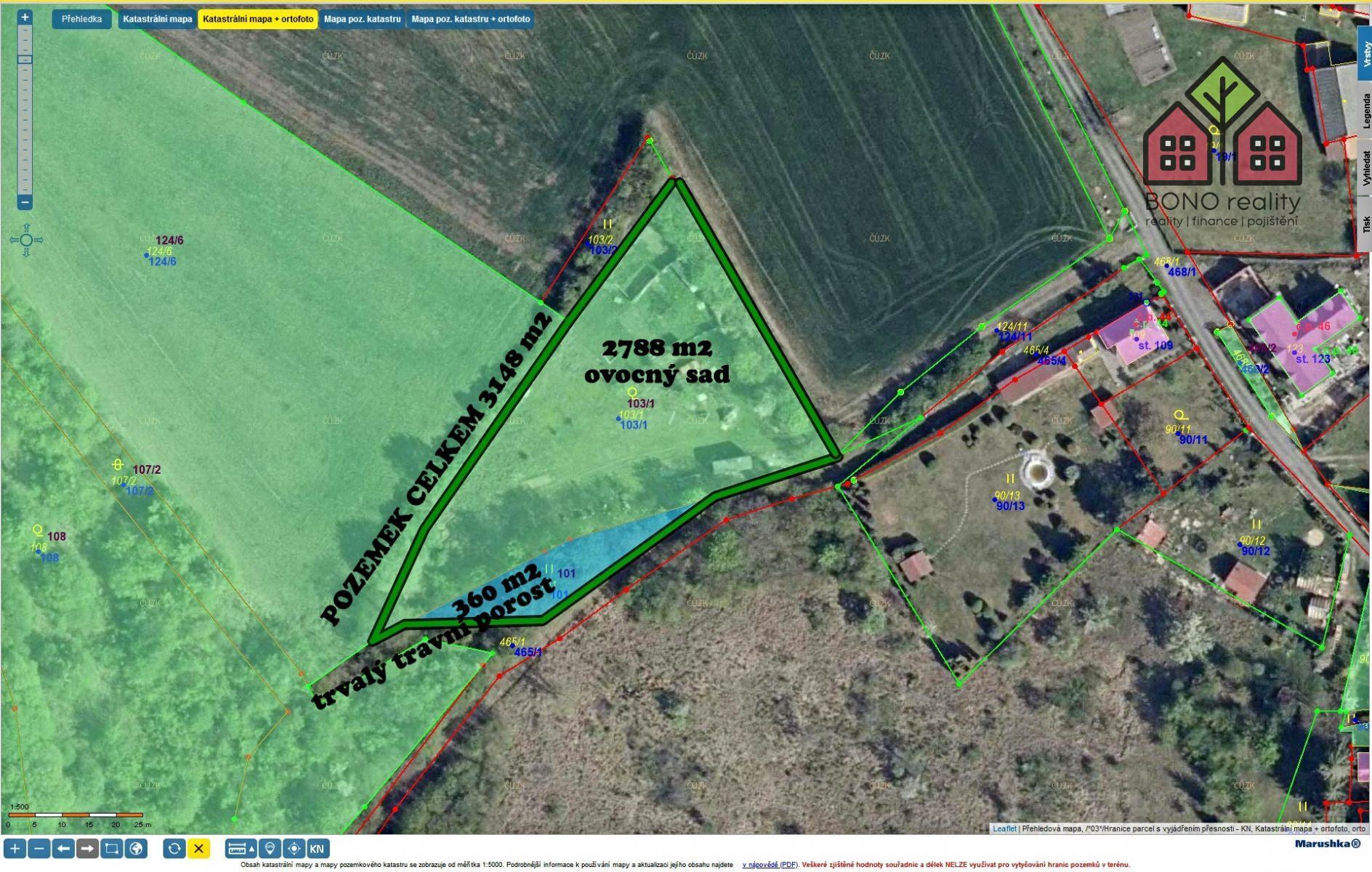 Pozemek 3148 m2, ovocný sad, chov ovcí, rekreace, okres Litoměřice, k.ú. Boreč