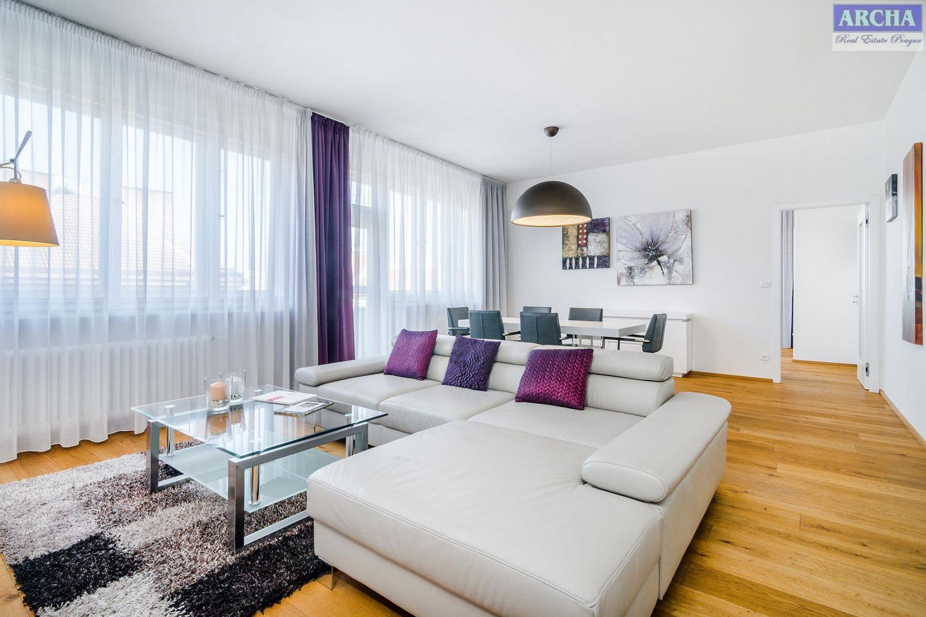 Nájem bytu 3+kk, 115 m2, 2x terasa, 7.NP, Jičínská, Praha 3 Vinohrady