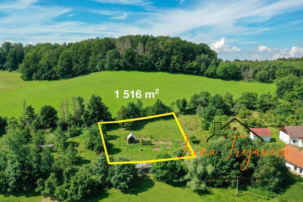 Pozemek 1516 m2 s chatkou, Postupice - Pozov