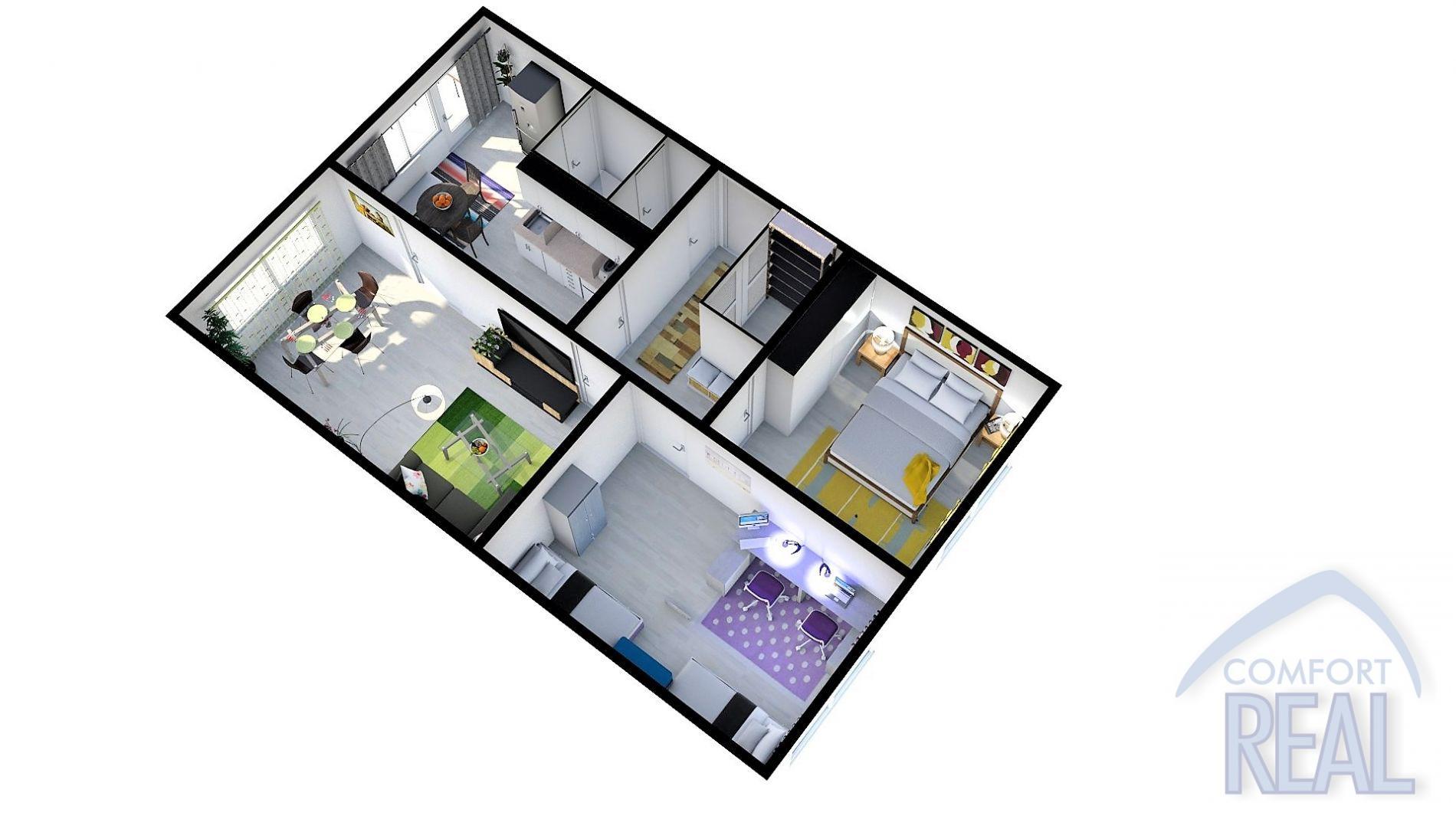 Družstevní byt 3+1, 75m 2, lodžie, ul. Puškinova, Vyškov - Dědice