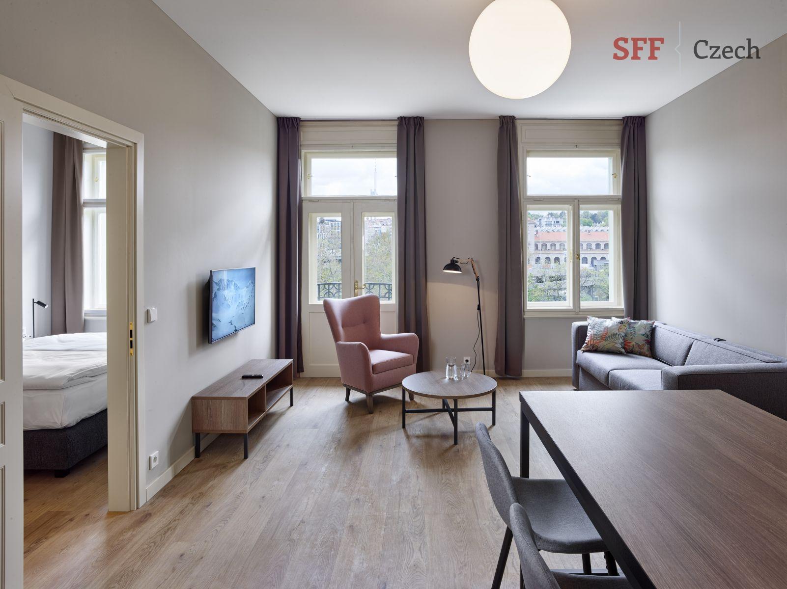 Luxusní byt 2+kk plně vybavený k pronájmu v centru Prahy Opletalova Praha 1